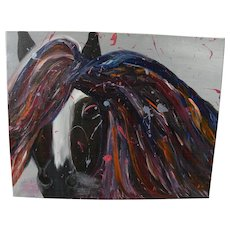 Contemporary semi abstract painting of a horse head