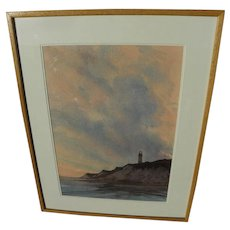 HARVEY JOHN DODD (1933-2011) fine large watercolor of cliffs and lighthouse by noted Cape Cod artist