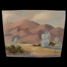 California plein air art signed contemporary desert painting