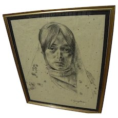 Charcoal portrait drawing of New Mexico young woman in traditional dress signed E. Gonzales