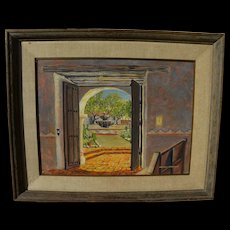 Signed Southwestern painting of a Spanish style courtyard seen through a doorway