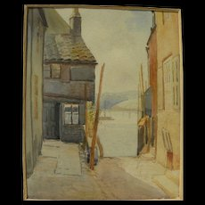 Antique possibly European watercolor painting of old buildings near the sea