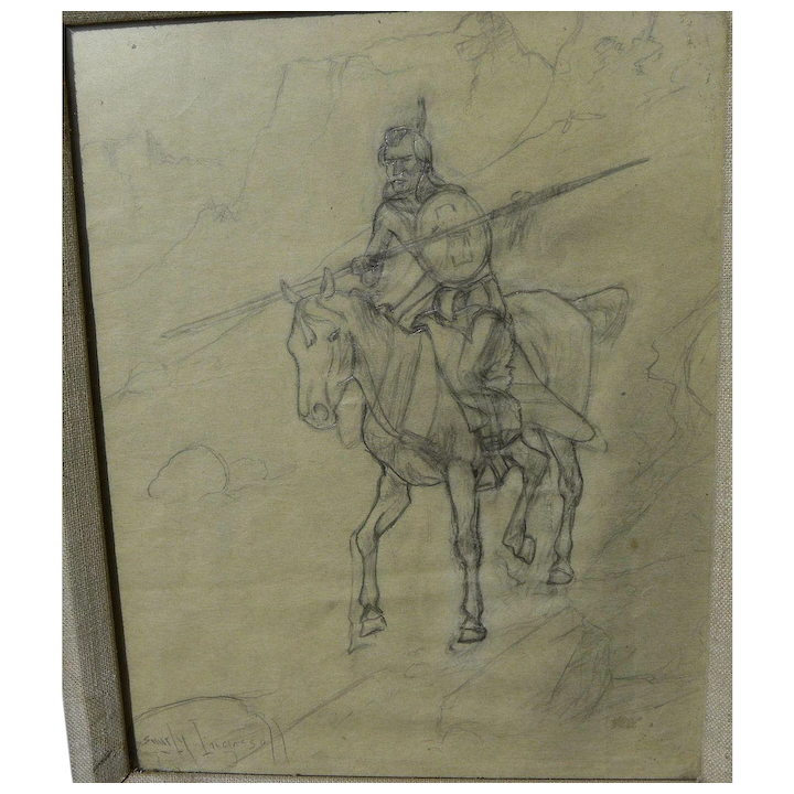 Sandy Ingersoll 1908 1989 Original Pencil Drawing Of Indian Warrior On Horseback By Noted Montana Artist