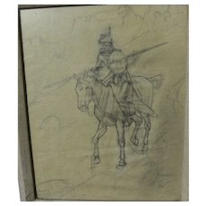 SANDY INGERSOLL (1908-1989) original pencil drawing of Indian warrior on horseback by noted Montana artist