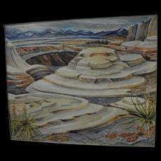 MYRTLE MAE HOFFMAN CAMPBELL (1886-1978) large 1940 modernist Southwest landscape watercolor