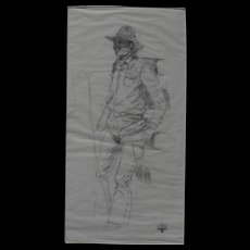 CURTIS WINGATE (1926-1982) pencil drawing of a cowboy by noted western American artist