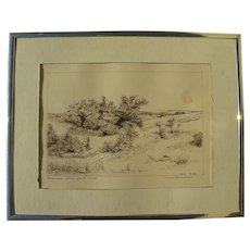 Coastal dunes drawing after William Merritt Chase signed Hugo Anderson 1980