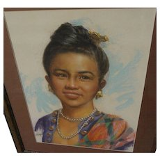 CESAR AMORSOLO (1903-1998) large fine pastel portrait of attractive young woman by Filipino artist