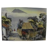 KENNETH E. SIQUEIRA (1922-2009) Guatemala landscape fantasy impressionist watercolor painting