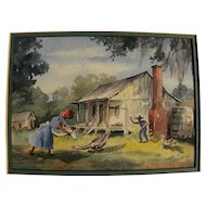 LOUISE SARRAZIN (1888-1967) vintage Louisiana art excellent watercolor painting of rural southern home and figures