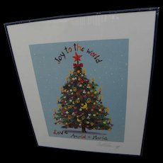 Arnold Schwarzenegger as artist RARE pencil signed limited edition Christmas theme poster