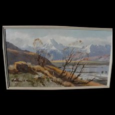 ASTON GREATHEAD (1921-2012) New Zealand art panoramic landscape painting of Mount Cook region