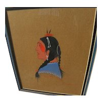 WOODROW WILSON BIG BOW (1914-1988) Native American art original gouache painting