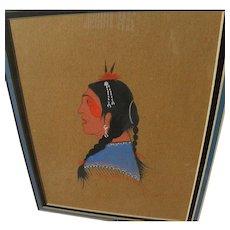 WOODROW WILSON BIG BOW (1914-1988) Native American art original gouache painting
