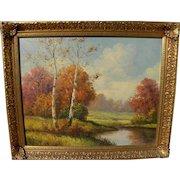 American impressionist autumn landscape painting signed DeWitt