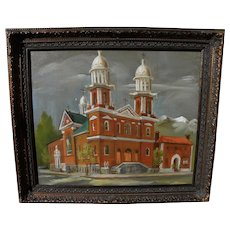 American painting of western city old brick church possibly by Preston McCrossen (1894-1981)