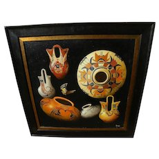 ED DOYLE contemporary hyperrealistic painting of Southwest pottery