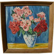 Vintage expressionist still life painting by German artist
