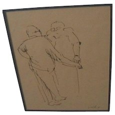 Signed Jewish art ink drawing of standing figures in conversation