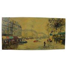 Paris large impressionist street scene signed mid century painting