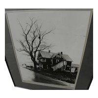 GARY FRANKLIN (1928-2007) black and white signed photograph of Ohio house by noted photographer and media personality