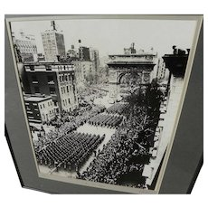 GARY FRANKLIN (1928-2007) black and white signed photograph of New York City 1945 victory parade by noted photographer and media personality