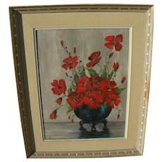 American Impressionist oil floral still life painting signed