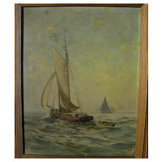 HENDRICKS A. HALLETT (1847-1921) American oil painting of small sailing boat on calm sea