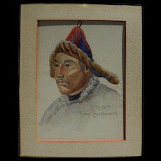 Old Russian 1920 watercolor painting of Mongolian man