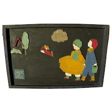 Circa 1920's vintage Jack and Jill wood cut out picture suitable for children's room