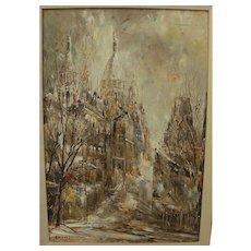 JUNJI YAMASHITA (1940-) Paris Montmartre impressionist painting by noted Japanese artist