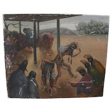 Southwest signed circa 1930's mural style painting of Native American ceremonial dancers
