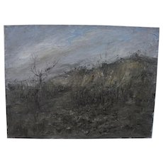 Italian or French mid-century gray-tan modern landscape signed dated 1953