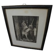 After ARNOLD BOCKLIN (1827-1901) vintage print of maiden on a unicorn in forest