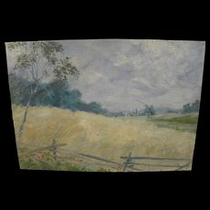 European initials signed impressionist landscape painting of a fenced sunny meadow