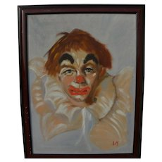 Signed clown painting by late 20th century American artist