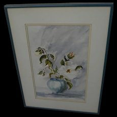 Impressionist signed watercolor still life painting