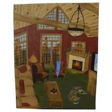 Contemporary American naive style painting of woodsy Adirondack Style home