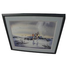 Signed 1986 watercolor painting of surfers in California Scene style
