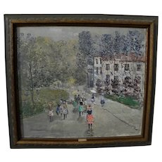TADEUSZ ROMAN (1906-1993) elegant impressionist park scene painting by noted Polish artist