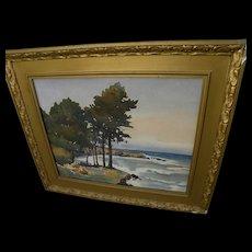 BESSIE ELLA HAZEN (1862-1946) California plein air watercolor painting of coast pines at Cambria