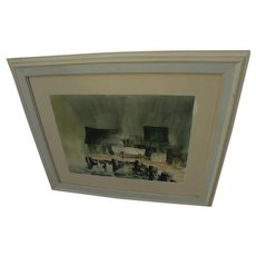 Mid Century California watercolor painting by San Diego artist architect GEORGE LYKOS