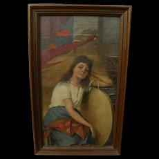 CIPRIANO CEI (1864-1922) Italian art painting of young woman by noted genre painter