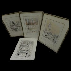 ANDRE HAMBOURG (1909-1999) four pencil signed numbered prints of Paris scenes by noted French Post-Impressionist artist