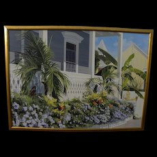 "JEANETTE CHUPACK (American contemporary) large realism painting ""Key West Porch Garden"""