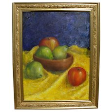 Impressionist signed contemporary still life painting of fruit