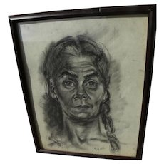 SUZANNE JACKSON (1944-) African-American art charcoal portrait drawing