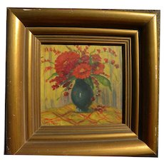 Impressionist Czech or Slovak small oil still life painting