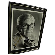 George Burns with cigar autographed black and white photo