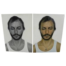 Pair unsigned contemporary portraits of the same man